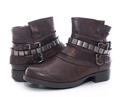 Damen Winter Stiefelette Boots Braun warm gefüttert # 600