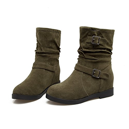 AN A&N Womens Boots Snow Boots Lobster-Claw Adjustable-Strap Heeled Solid Warm Lining Rubber Not_Water_Resistant Hard-Ground Urethane Boots DKU01711 Darkgreen ZMxxD