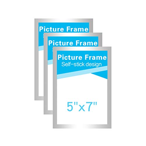 (MFoffice 5x7 Picture Frames Made of Durable PVC and Strong Magnetic,Self Adhesive for Refrigerator/Wall/Door/Window/Cabinet Display,Silver,Pack of 3 )