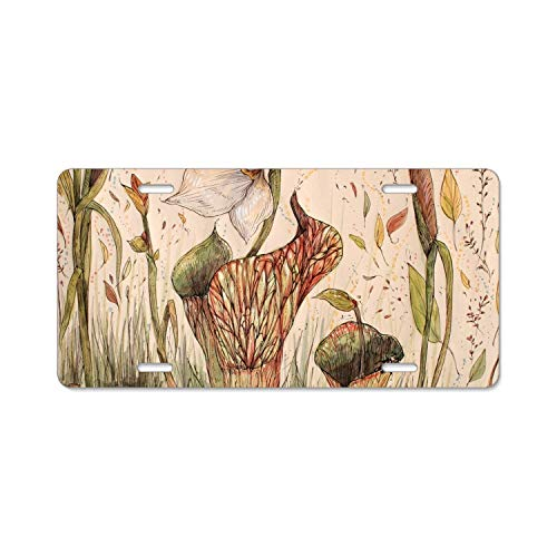 EXMENI Pitcher Plant License Plate Frame Stainless Steel