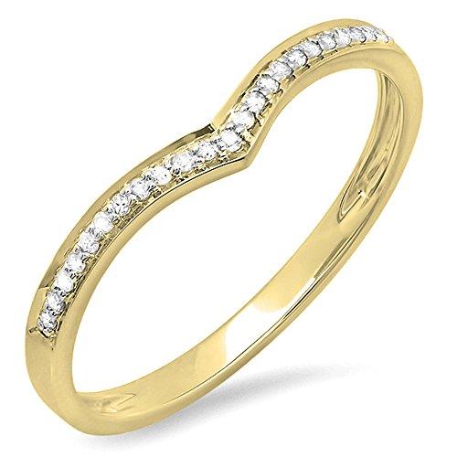 0.08 Carat (ctw) 14K Gold Round White Diamond Ladies Wedding Stackable Band Anniversary Chevron Ring