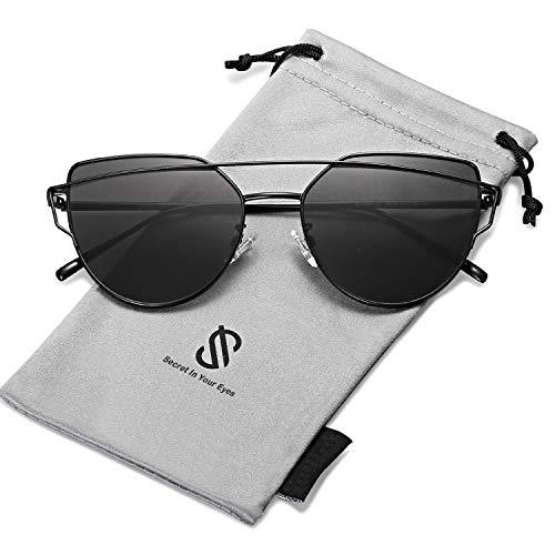 SOJOS Cat Eye Mirrored Flat Lenses Street Fashion Metal Frame Women Sunglasses SJ1001 with Black Frame/Grey Lens (Kinder Designer Glasses Frames)
