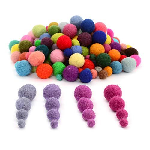 Glaciart Felt Pom Poms, Wool Balls (240 Pcs) 4 Sizes: 1 cm, 1.5 cm, 2 cm & 2.5 cm, Handmade Felted 60 Color (Red, Pink, Blue, Yellow,Black, White, Pastel & more), Bulk Small Puff for Felting & Garland