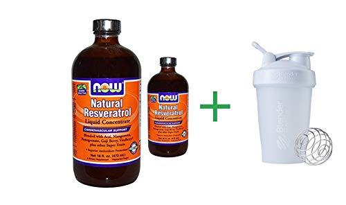 Resveratrol Concentrate Liquid Natural (Now Foods, Natural Resveratrol, Liquid Concentrate, 16 fl oz (473 ml)(2 PCS) + Blender Bottle)