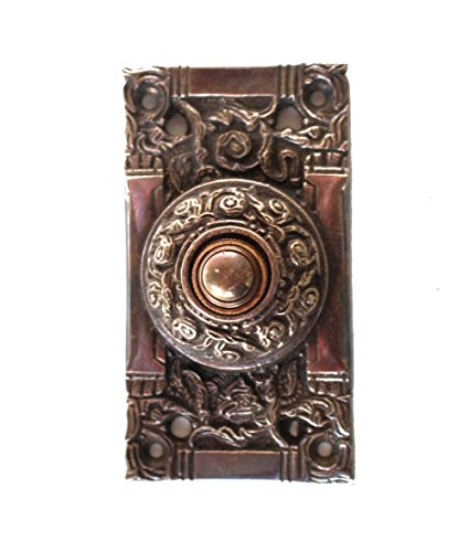 Victorian Solid Brass Electric DOOR BELL Vintage Antique Replica Hardware Dark Bronze (Bronze Victorian Door)