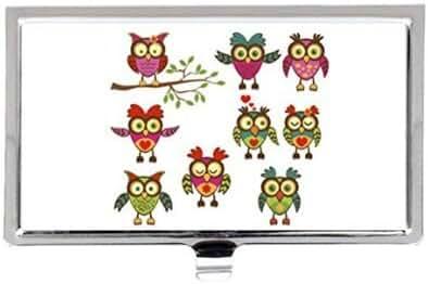 Cartoon Owls Custom Images Business Card Holder Name Case