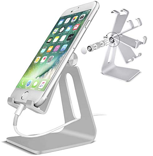 POKANIC Cell Phone Stand Dock Holder Cradle Mount Organizer Charger StationTable, Desktop Bed Office School Kitchen Travel Foldable Portable Adjustable, Multi-Angle Aluminum Non-Slip, Kids (Silver) (Aluminium Angle)