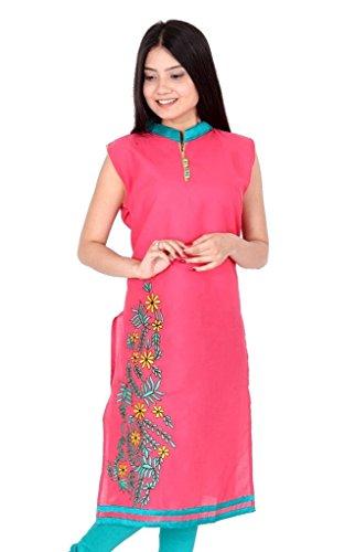 wooU Women's Cotton Embroidered Kurti (Pink_Large)