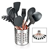 Kitchen Utensil Set - 10 Piece Silicone Cooking Utensil Set - BPA Free & Non Toxic Nonstick Cookware Set with Rose Gold Stainless Steel Handle - Includes Utensil Holder,Turners,Tongs,Spatula & Spoons