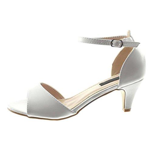 Sandale 6 Lanière Cheville Haut Talon Cönique Lanière Chaussure 5 Chic Mode Blanc CM Escarpin Angkorly Femme 7xHRn1