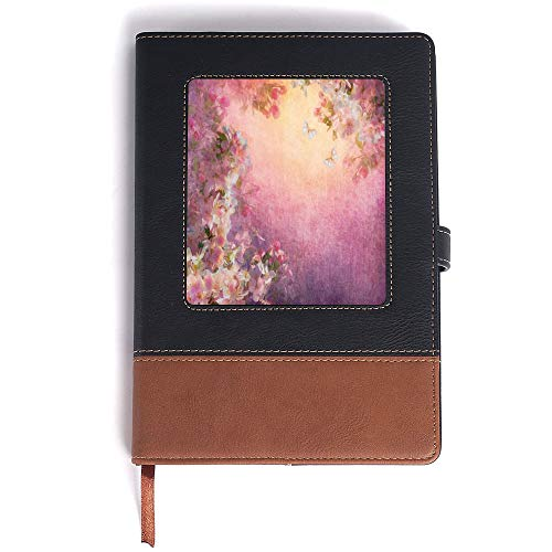 Rown Notebook,ArtEnchanted Cherry Blossom Petals Field Shabby Chic Floral Garden Spring Picture DecorativePerfect for Writing, Gifts, Travelers - A5/6.04x8.58 in