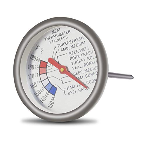 Meat Roasting Thermometer - Aveloki Roasting Meat Thermometer T729E,Stainless Steel Classic Fry Meat Thermometer,Silver Easy-Read Face For BBQ Household