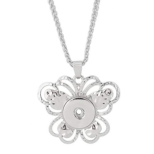 LOV*MOMENT Lovmoment Necklace 20mm Butterfly Pendant of Necklace with Chain Snap Chunks Interchangeable Jewelry