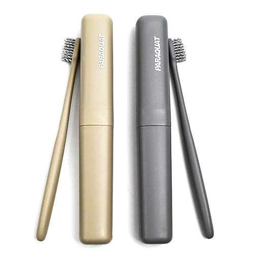 4 Packs Premium Toothbrush and Case,2 Soft Bristles Toothbrushes come wtih 2 Travel Case,Natural Organic Whitening Tooth Brush for Adults & Children Family,Travel,Camping, School use (Brown&Grey)