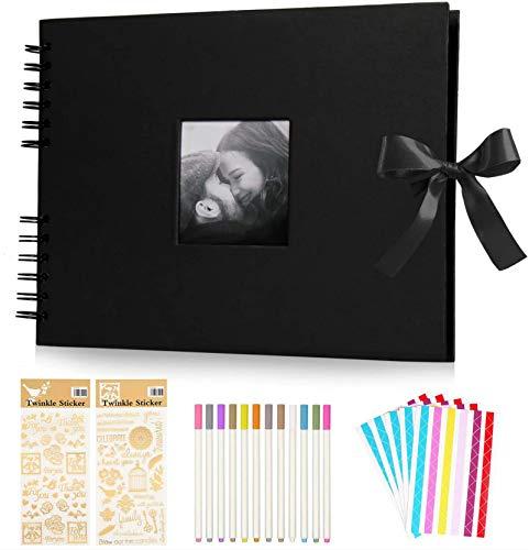KEAFOLS Álbumes de Fotos 80 Páginas Negras 40 Hojas Scrapbook Album de Fotos DIY Scrapbooking Album para Regalos de Boda…