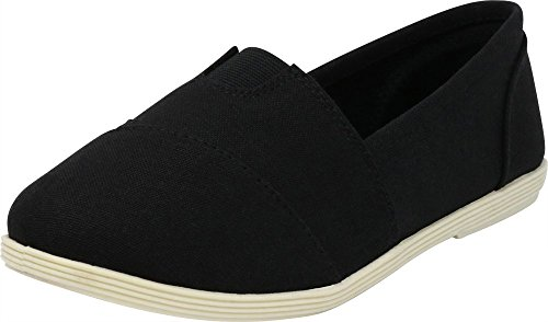 Cambridge Select Women's Memory Foam Comfort Canvas Slip On Flats (9 B(M) US, Black/White Linen)