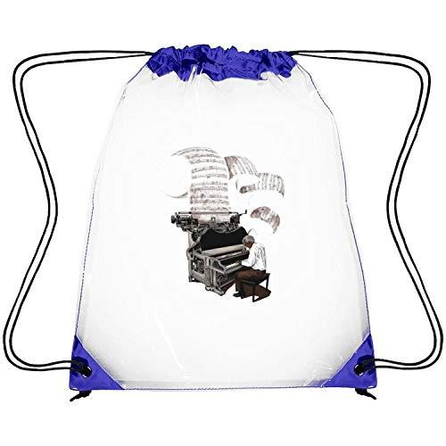 DALASAK Transparent PVC Plastic Stadium Drawstring Backpack Pianist Playing The Piano Funny Music Waterproof