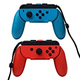 [2 Set] N-Switch Joy-Con Grips,SKOLOO Compact Light Durable Wear-resistant Manipulate Controller grip Game Handles for Left & Right of Nintendo Switch Joy-con Game Handles,Blue & Red