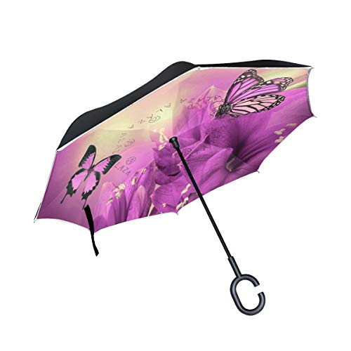 Reverse Umbrella Purple-Flowers Butterflies Wide Windproof Double Layer for Car