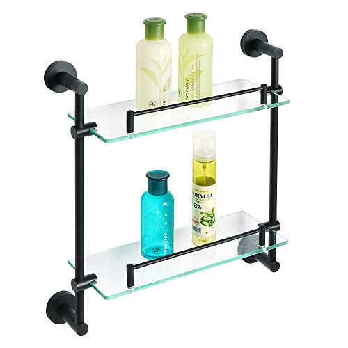 Alise Bathroom Shelf Shower Caddy Double-Layer Shower Glass Shelves Wall Mount,SUS304 Stainless Steel Matte Black by Alise