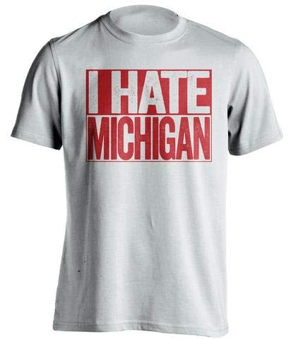 I Hate Michigan - Haters Gonna Hate Shirt - Red and White Versions - Box Design - White - Medium
