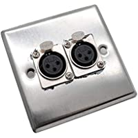 Yootop Dual 3-Pin XLR Connector Wall Plate Stainless Steel Duplex Socket Panel