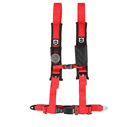 - Pro Armor A16UH349RD Auto Style 4 Point Harness 2 Inch Lap Seat Belt Straps Red Passenger Side