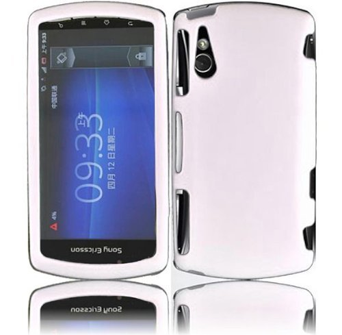 Pantech Rubberized Hard Shell Faceplate Cover Phone Case for Sony Ericsson Xperia Play R800 R800X - White
