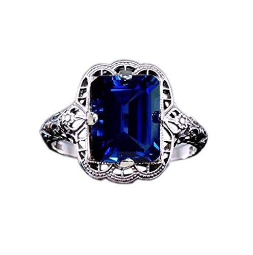 - Women Diamond Ring,TADAMI New Style Crystal 925 Sterling Bridal Ring Anniversary Wedding Engagement Band (Dark Blue)