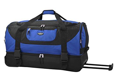 Travelers Club Bottom - Travelers Club Luggage Adventure 30 Inch Multi-Pocket Drop-Bottom Rolling Duffel, Blue, One Size