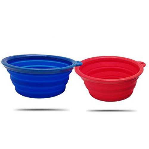 AZCAMP Collapsible Dog Bowls (2-Pack), for Camping and Travel/Outdoor Enthusiasts & Pet Lovers, Food-Grade Silicone, BPA-Free ()