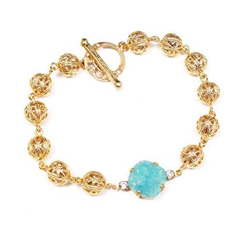 (Clara Beau Antique PacificOpal Swarovski Crystal Round Filigree Bead Bracelet B88 GoldTone-PacOp)