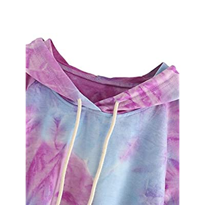 SweatyRocks Women's Cold Shoulder Tie Dye Pullover Hoodie Crop Top Sweatshirt at Women's Clothing store