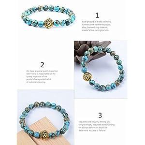 Natural Stone Bracelet, Morbuy 8mm Stone Agate Bracelet Bangle Beads Bracelet for Men Women Lava Rock Elastic Natural Stone Bracelet Bangle (Blue malachite)