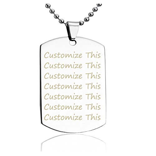 JOVIVI Free Engraving - Personalized Military Army Style Stainless Steel Dog Tag ID Pendant Necklace