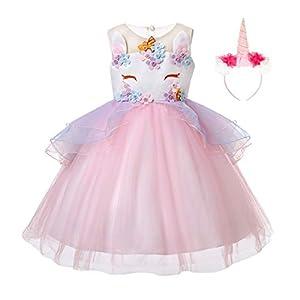 JiaDuo Baby Girl Unicorn Costume Headband Pageant Flower Princess Party Dress