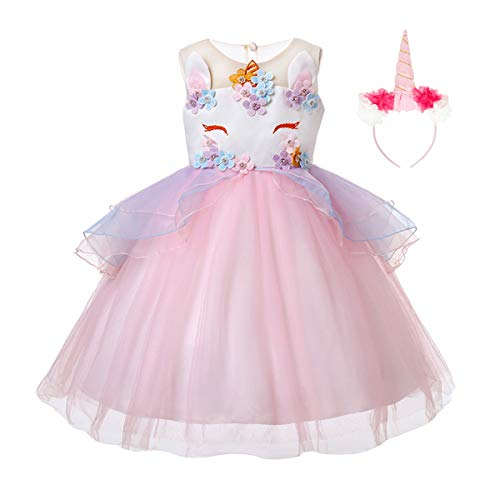 JiaDuo Baby Girl Unicorn Costume Headband Pageant Flower Princess Party Dress