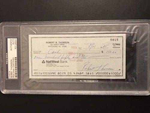 Bobby Thomson Autographed Signed/Endorced Personal Check PSA/DNA Authentic Slabbed Authentic