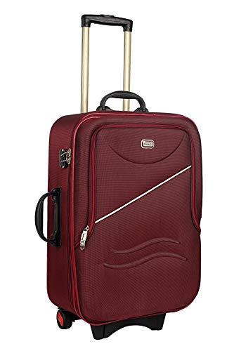 Trekker Soft Sided Double Shell Cabin Luggage Polyester Trolley Bag 20  Red