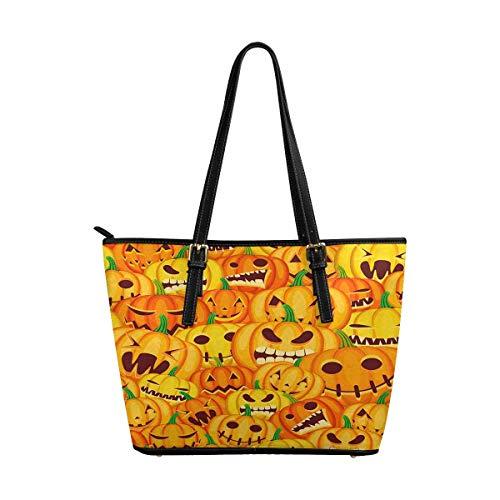 InterestPrint Top Handle Satchel HandBags Shoulder Bags Tote Bags Purse Halloween Jack O Lantern Pumpkins