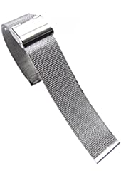 PanDaDa 18-24mm Stainless Steel Mesh Strap Double Clasp Bracelet Buckle Watc...