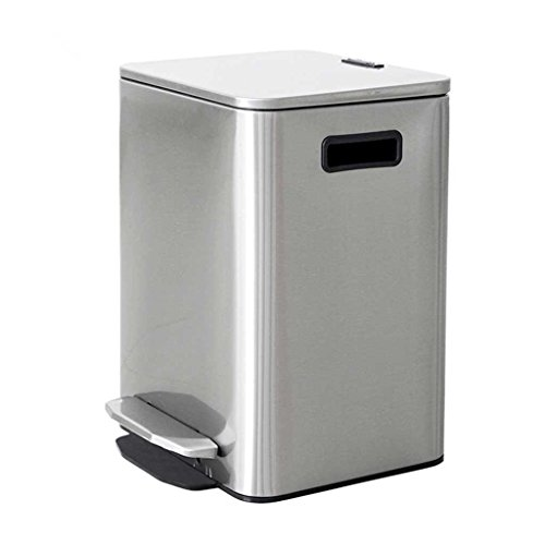 X&Y 9L Square Stainless Steel Pedal Trash Can Home Mute Slow Down Covered Storage Bucket 18 32.5cm by miaomiao