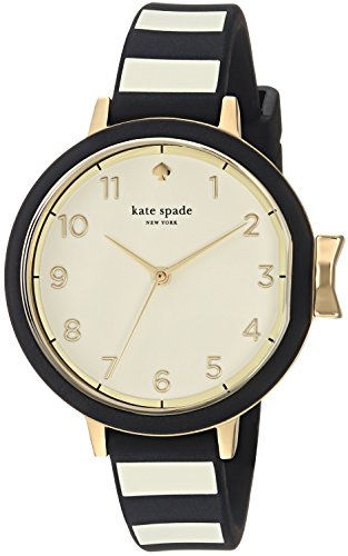 kate spade new york Women's Park Row Stainless Steel Analog-Quartz Watch with Silicone Strap, Black, 12 (Model: KSW1313)