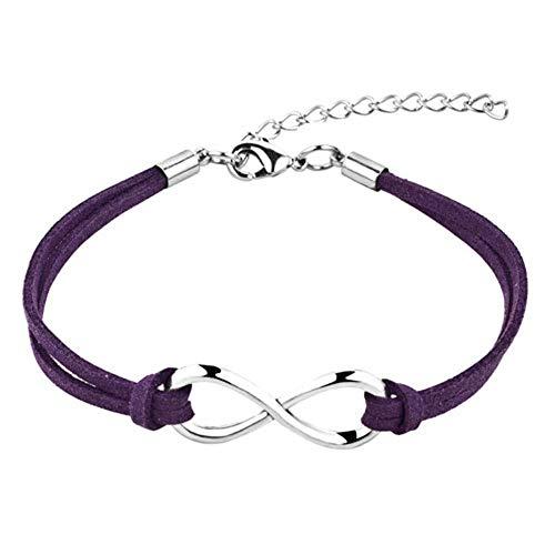 Awareness Purple Rose Ribbon - JewelryJo Infinity Endless Love Hope Handmade Leather Wrap Wristband Adjustable Bracelets Purple