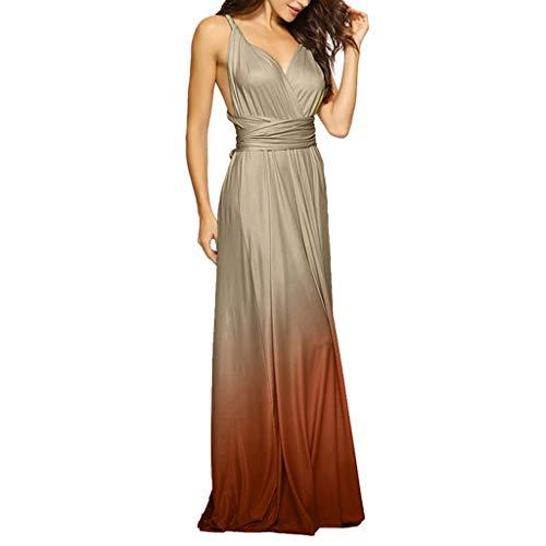 Women Bandage V Neck Maxi Dress Convertible Wrap Gradient Color Multi-Way Long Formal Party Wedding Dresses (X-Large, Champagne)