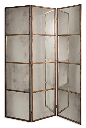 80'' Sylvia Antiqued Gold Metal & Mirror Decorative 3-Panel Room Divider Screen by Diva At Home