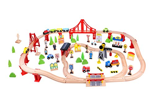 TOYSTERS Wooden Train Set for Kids | 100-Piece Toy Trains Set Compatible with Thomas Wooden Railway | Model Train Great Gift Idea for Boys and Girls | Superior Craftsmanship and Rapid Assembly