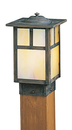 Arroyo Craftsman mission square post cap with T-bar overlay Pewter Metal Finish, Off White Glass, 6