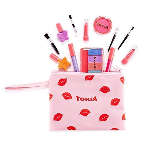 Kids Washable Makeup Kit for Little Girl, Non-Toxic Play Makeup Set with Cosmetic Bag -