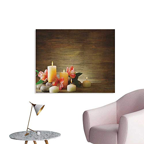 (Anzhutwelve Spa Photographic Wallpaper Spa Composition with Many Candles Wellbeing Unity Neutrality Icons Calm Happiness Theme Funny Poster Multicolor W28 xL20)